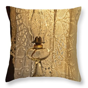 Throw Pillow featuring the photograph Lamp By The Window by Lena Wilhite
