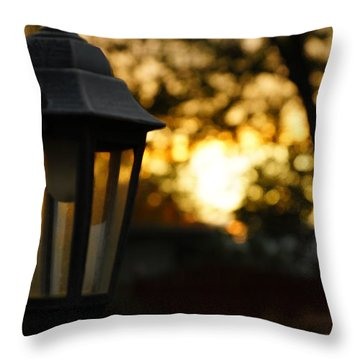 Throw Pillow featuring the photograph Lamplight by Photographic Arts And Design Studio