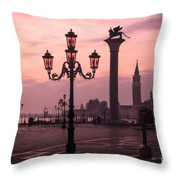 Lamppost Of Venice Throw Pillow
