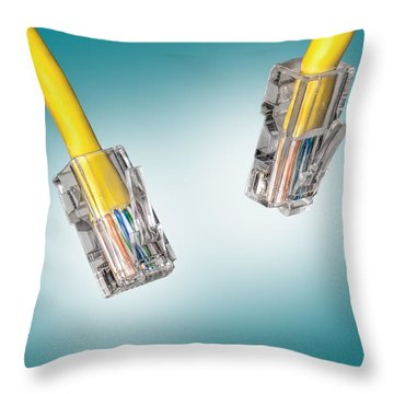 Lan Cable Close Up Throw Pillow by Shaun Wilkinson