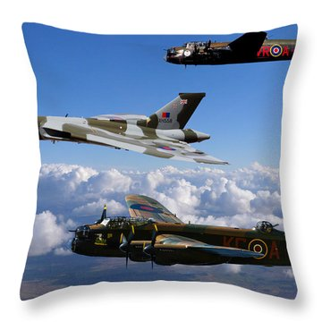 Lancaster Bombers And Vulcan Xh558 Throw Pillow