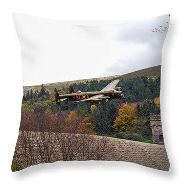 Lancaster Kc-a At The Derwent Dam Throw Pillow
