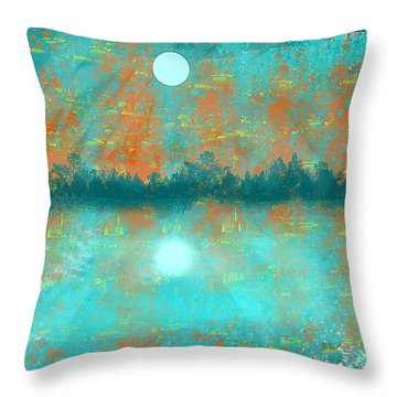 Land And Moon Throw Pillow