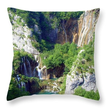 Land Of Falling Lakes Throw Pillow