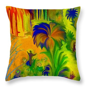 Throw Pillow featuring the digital art Land Of Little Peeps by Sherri  Of Palm Springs
