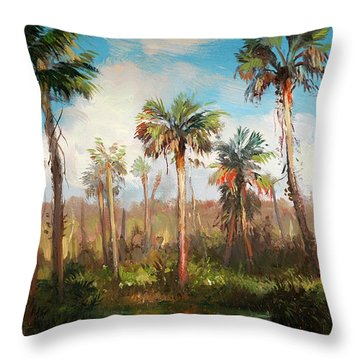 Land Of The Seminole Throw Pillow by Keith Gunderson