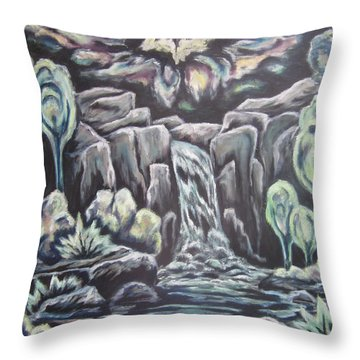 Throw Pillow featuring the painting Land Of The Setting Sun by Cheryl Pettigrew