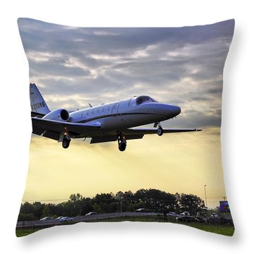 Landing At Sunrise Throw Pillow