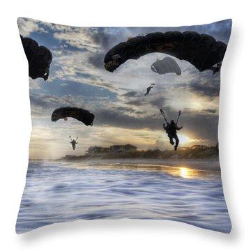 Landing At Sunset Throw Pillow