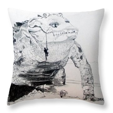 Throw Pillow featuring the drawing Landing by Lazaro Hurtado