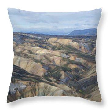 Landmannalaugar Iceland Panorama 2 Throw Pillow by Rudi Prott