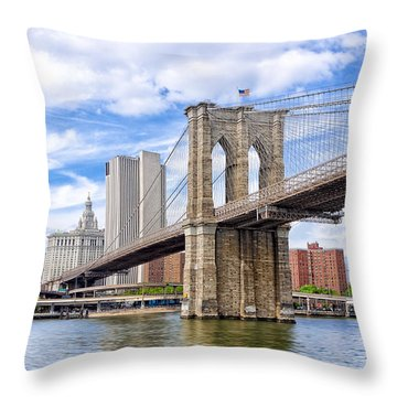 Landmark Brooklyn Bridge Throw Pillow by Mark E Tisdale