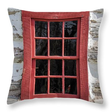 Landow Cabin Window Throw Pillow