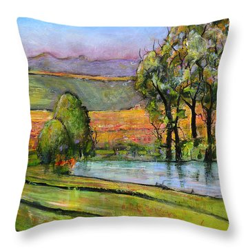 Landscape Art Scenic Fields Throw Pillow by Blenda Studio