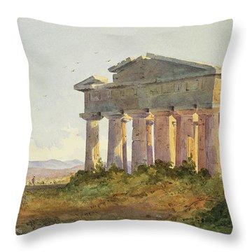Landscape At Paestum Throw Pillow by Arthur Glennie