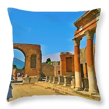Landscape At Pompeii Italy Ruins Throw Pillow by John Malone