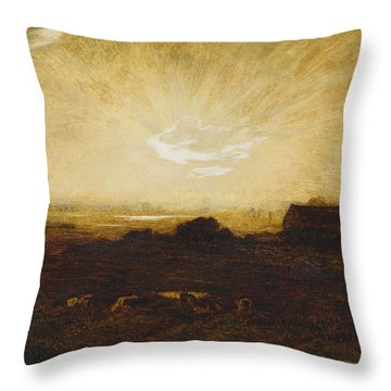 Landscape At Sunset Throw Pillow by Marie Auguste Emile Rene Menard