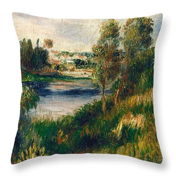Landscape At Vetheuil Throw Pillow