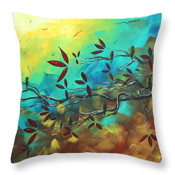 Landscape Bird Original Painting Family Time By Madart Throw Pillow by Megan Duncanson