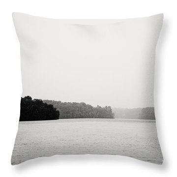 Landscape Black And White Fog Throw Pillow