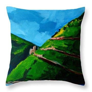 Landscape Castle Along The River Rhine Throw Pillow by Patricia Awapara