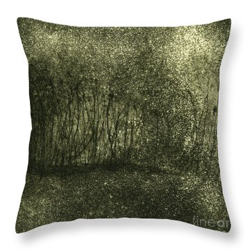 Throw Pillow featuring the painting Mystical Landscape - Plants -reed - Botany - Biotope - Habitat - Etching - Fine Art Print - Stock Image by Urft Valley Art