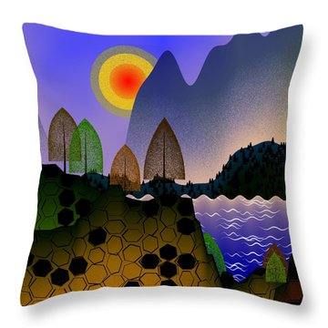 Landscape Throw Pillow by GuoJun Pan