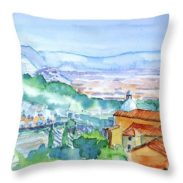 Tuscany Valley  Medieval Village Of Massa Throw Pillow