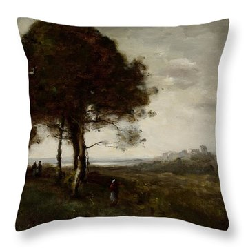 Landscape Throw Pillow by Jean Baptiste Camille Corot