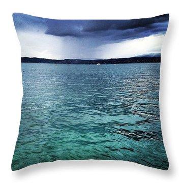 Landscape #lake #garda #nice Throw Pillow