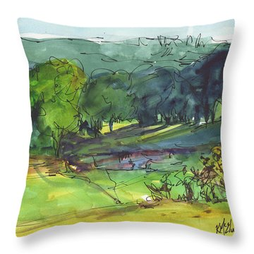 Landscape Lakeway Texas Watercolor Painting By Kmcelwaine Throw Pillow