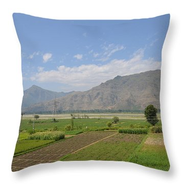 Throw Pillow featuring the photograph Landscape Of Mountains Sky And Fields Swat Valley Pakistan by Imran Ahmed