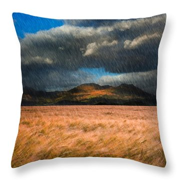 Landscape Of Windy Wheat Field In Front Of Mountain Range With D Throw Pillow by Matthew Gibson