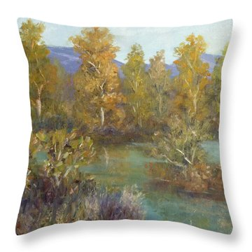 Landscape River And Trees Paintings Throw Pillow