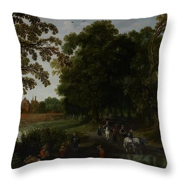 Landscape With A Courtly Procession Before Abtspoel Castle Throw Pillow by Esaias I van de Velde
