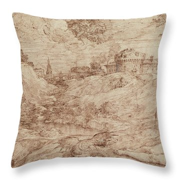 Landscape With A Dragon And A Nude Woman Sleeping Throw Pillow by Titian