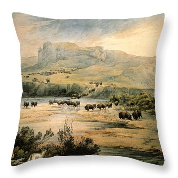 Landscape With Buffalo Ont The Upper Missouri Throw Pillow by Karl Bodmer