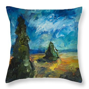 Emerald Spires Throw Pillow