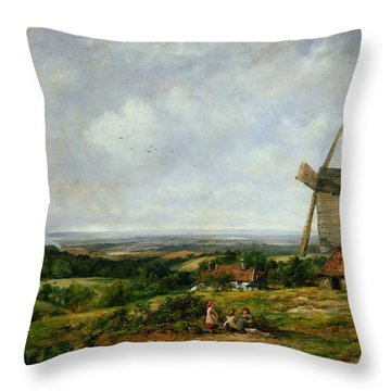 Landscape With Figures By A Windmill Throw Pillow by Frederick Waters Watts