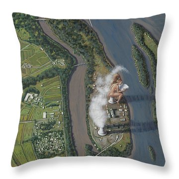 Landscape With Goddess Throw Pillow by Holly Wood