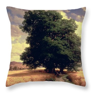 Landscape With Oaks Throw Pillow