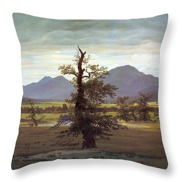 Landscape With Solitary Tree Throw Pillow by Caspar David Friedrich