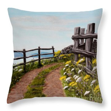 Lane At Highland Village Throw Pillow by Jesslyn Fraser