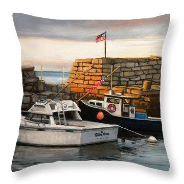 Lanes Cove Fishing Boats Throw Pillow