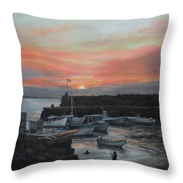 Lanes Cove Sunset Throw Pillow by Eileen Patten Oliver