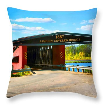 Langley Covered Bridge - Michigan Throw Pillow by Pat Cook