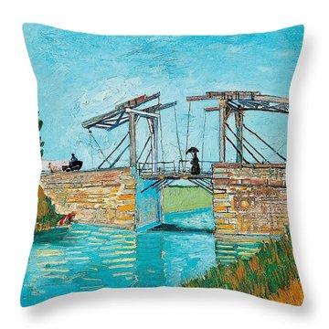 Langlois Bridge At Arles Throw Pillow by Vincent van Gogh