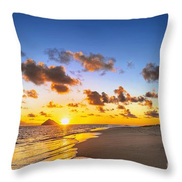 Throw Pillow featuring the photograph Lanikai Beach Bright Sunrise by Aloha Art