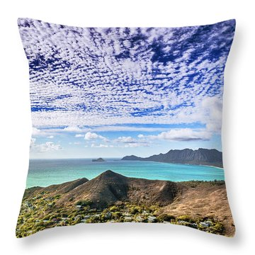 Throw Pillow featuring the photograph Lanikai Beach Cirrocumulus Clouds by Aloha Art