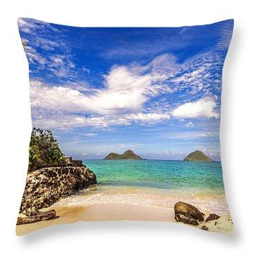 Lanikai Beach Cove Throw Pillow